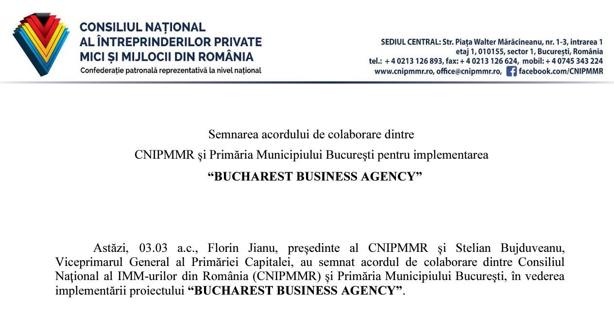 """Semnarea acordului de colaborare dintre  CNIPMMR și Primăria Municipiului Bucureşti pentru implementarea  """"BUCHAREST BUSINESS AGENCY"""""""